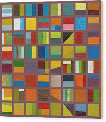 Color Study Collage 65 Wood Print by Michelle Calkins