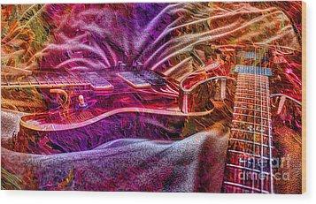 Color Wheel Digital Guitar Art By Steven Langston Wood Print by Steven Lebron Langston