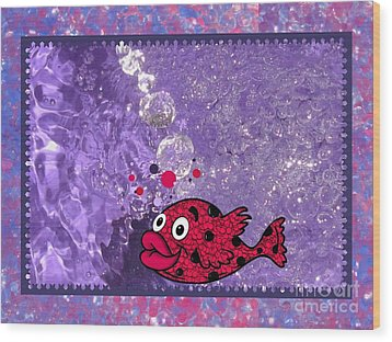 Color Your World Kids Bath Fish Wood Print by Margaret Newcomb