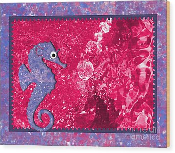 Color Your World Kids Bath Seahorse Wood Print by Margaret Newcomb