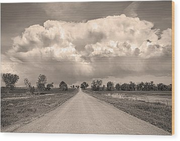 Colorado Country Road Stormin Sepia  Skies Wood Print by James BO  Insogna