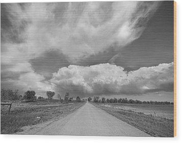 Colorado Country Road Stormin Skies Bw Wood Print by James BO  Insogna