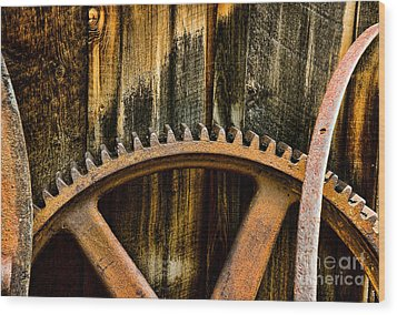 Wood Print featuring the photograph Colorado Mining Gear by Catherine Fenner