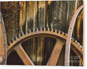 Colorado Mining Gear Wood Print