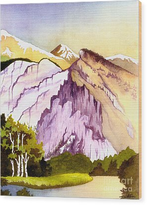 Wood Print featuring the painting Colorado Mountains In Their Purple Majesty by Nan Wright
