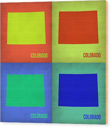 Colorado Pop Art Map 2 Wood Print by Naxart Studio