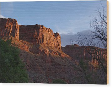 Colorado River Sunrise Wood Print by Michael J Bauer