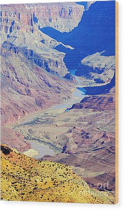 Colorado River Winding Through The Grand Canyon Wood Print by Shawn O'Brien