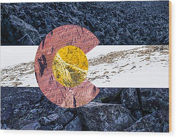 Colorado State Flag With Mountain Textures Wood Print