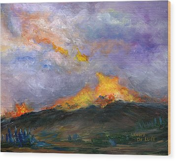 Wood Print featuring the painting Colorado Wild Fire by Lenora  De Lude