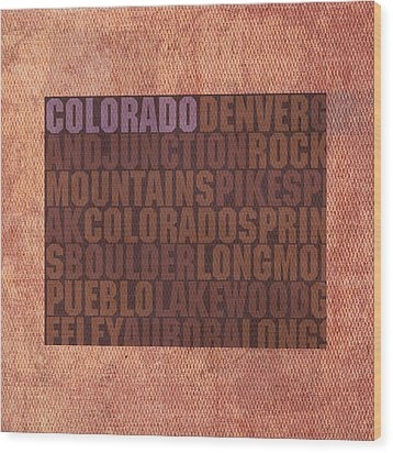Colorado Word Art State Map On Canvas Wood Print by Design Turnpike