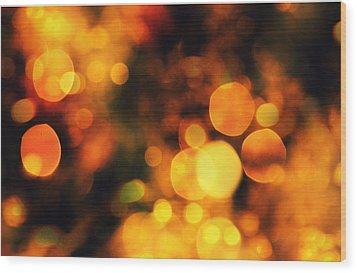 Wood Print featuring the digital art Coloured Bokeh Lights by Fine Art By Andrew David