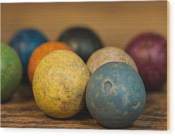 Colored Clay Marbles Wood Print