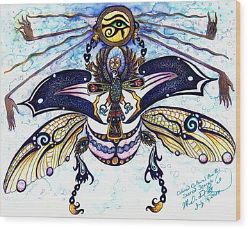 Colored Cultural Zoo B Sacred Scarab Wood Print