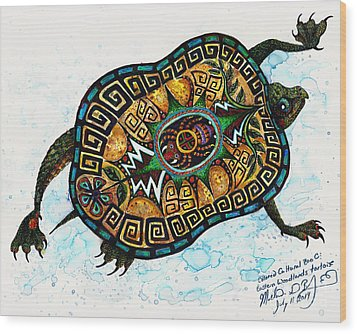 Colored Cultural Zoo C Eastern Woodlands Tortoise Wood Print