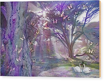 Colored Forest Wood Print by Alixandra Mullins