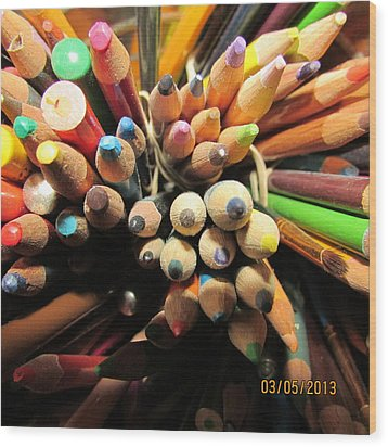 Colored Pencils Wood Print by Jaime Neo