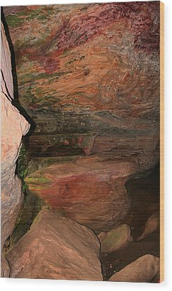 Colored Rock Layers Wood Print