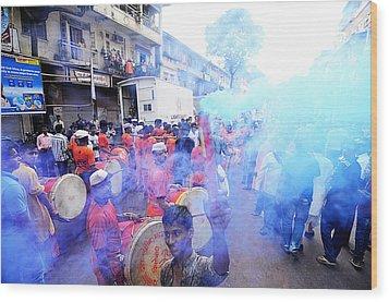Colored Smoke Wood Print by Money Sharma