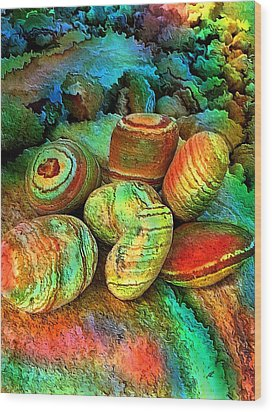 Colored Stones By Rafi Talby   Wood Print by Rafi Talby