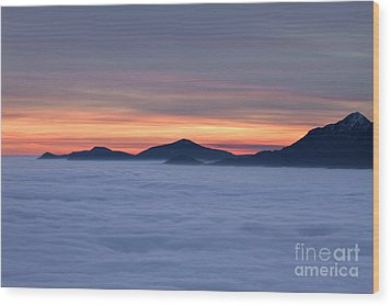 Colored Sunset Wood Print by Maurizio Bacciarini