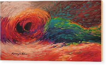 Colored Waves - Furious Red Abstract Print  Wood Print by Kanayo Ede