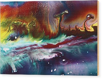 Colorful Abstract Art Vivid Colors Rainbow Landscape By Kredart  Wood Print by Serg Wiaderny