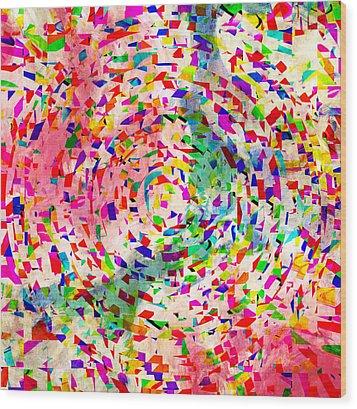 Colorful Abstract Circles Wood Print by Susan Leggett