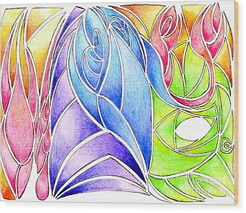 Colorful Abstract Drawing Wood Print by Minding My  Visions by Adri and Ray