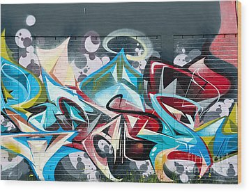 Colorful Abstract Graffiti Art On The Brick Wall Wood Print by Yurix Sardinelly