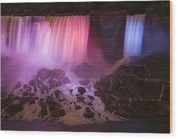 Colorful American Falls Wood Print by Adam Romanowicz