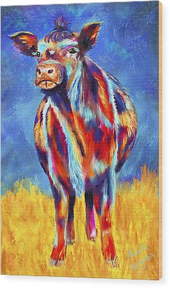 Colorful Angus Cow Wood Print by Michelle Wrighton