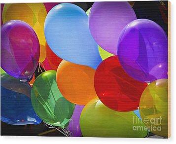 Colorful Balloons Wood Print by Elena Elisseeva
