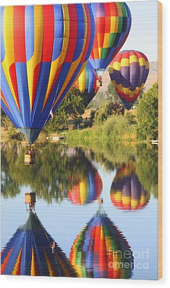 Colorful Balloons Fill The Frame Wood Print by Carol Groenen
