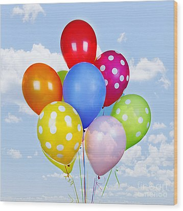 Colorful Balloons With Blue Sky Wood Print by Elena Elisseeva