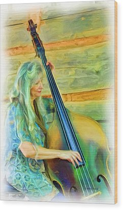 Colorful Bass Fiddle Wood Print by Kenny Francis