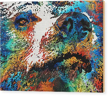 Colorful Bear Art - Bear Stare - By Sharon Cummings Wood Print
