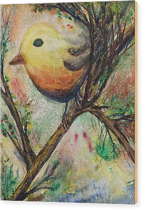 Colorful Bird Wood Print by Anais DelaVega