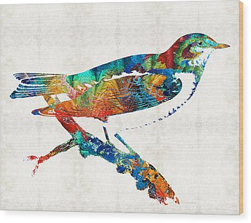 Colorful Bird Art - Sweet Song - By Sharon Cummings Wood Print by Sharon Cummings