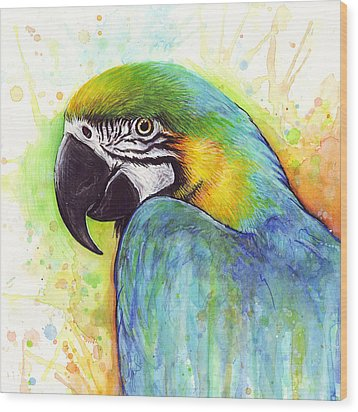 Macaw Watercolor Wood Print