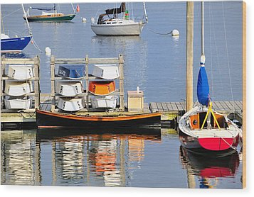 Colorful Boats Rockland Maine Wood Print by Marianne Campolongo