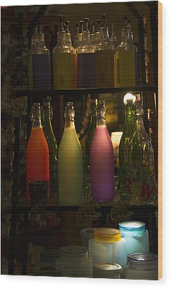Colorful Bottle Display Wood Print