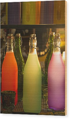 Colorful Bottles Closeup Wood Print