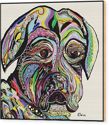 Colorful Boxer Wood Print by Eloise Schneider