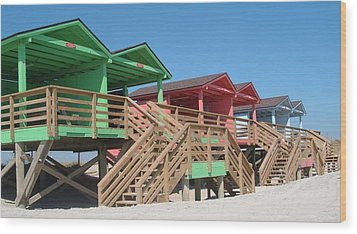 Colorful Cabanas Wood Print