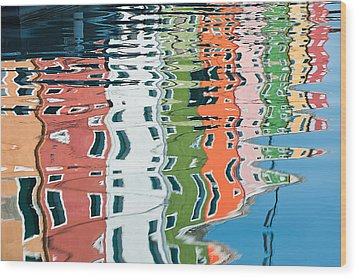 Colorful Canal Wood Print by Joan Herwig