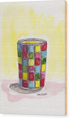 Wood Print featuring the pastel Colorful Candleholder by Julie Maas