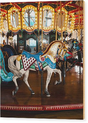 Wood Print featuring the photograph Colorful Carousel Horse by Jerry Cowart