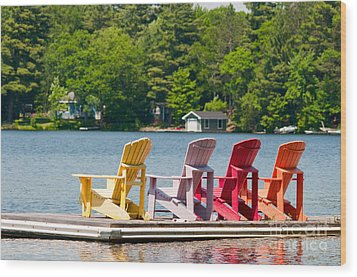 Wood Print featuring the photograph Colorful Chairs by Les Palenik