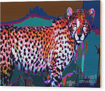 Wood Print featuring the painting Colorful Cheetah by Elinor Mavor